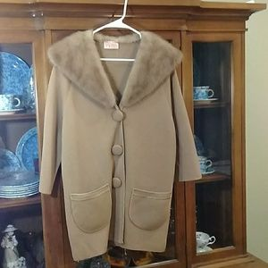 Vintage Wool sweater coat Mink Fur Collar